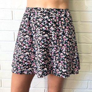 H&M ditsy floral button front high waist mini skrt